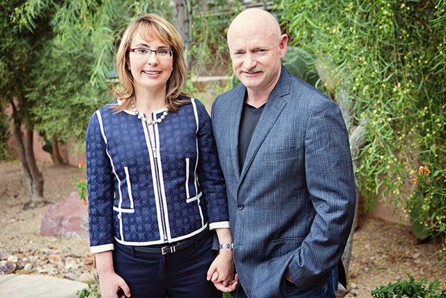 Gabby Giffords poses with her husband, Mark Kelly. Their organization, Americans for Responsible Solutions, are targeting Nevada voters to bar people on the no-fly list from buying guns. (Courtesy)