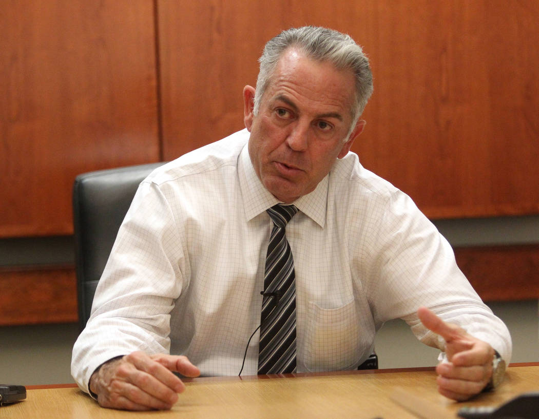 Clark County Sheriff Joe Lombardo discusses the Route 91 Harvest festival mass shooting during an exclusive interview with the Las Vegas Review-Journal Tuesday, Oct. 10, 2017. K.M. Cannon/Las Vega ...