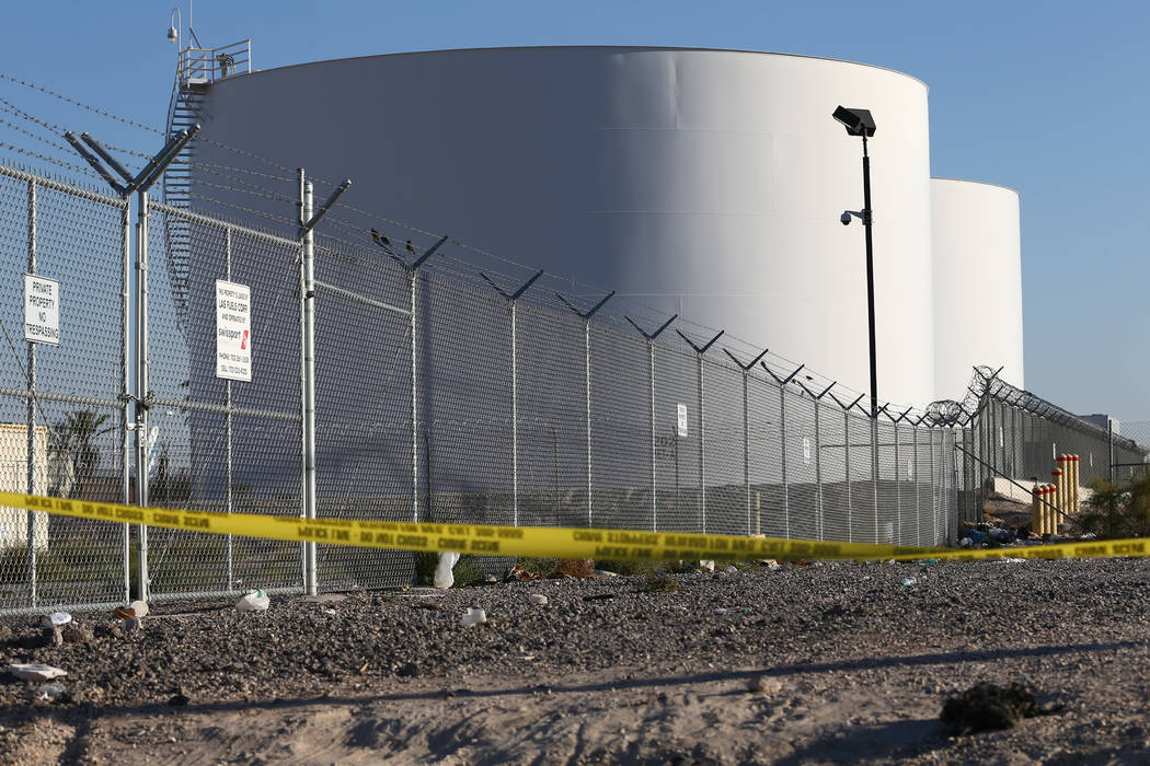 Fuel tanks near the Route 91 Harvest country music festival, pictured on Wednesday, Oct. 4, 2017, were targeted by Strip shooter Stephen Paddock when he fired on concert-goers from his Mandalay Ba ...
