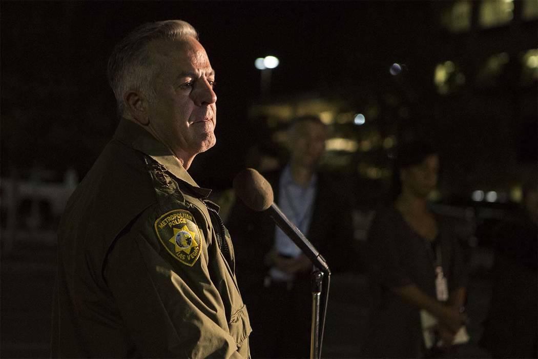 Las Vegas Metropolitan Police Department Sheriff Joseph Lombardo address the media outside Las Vegas Police Department Headquarters in Las Vegas, Sunday, Oct. 1, 2017. (Bridget Bennett/Las Vegas R ...