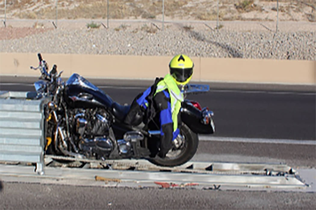 A motorcyclist was killed after a crash Monday, Oct. 10, 2017 on an Interstate 15 access road. (Nevada Highway Patrol)