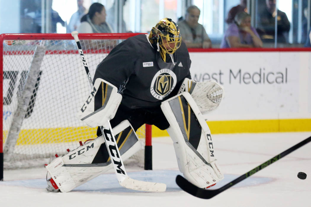 Vegas Golden Knights goalie Marc-Andre Fleury practices  at City National Arena in Las Vegas, Monday, Oct. 9, 2017. Elizabeth Brumley Las Vegas Review-Journal