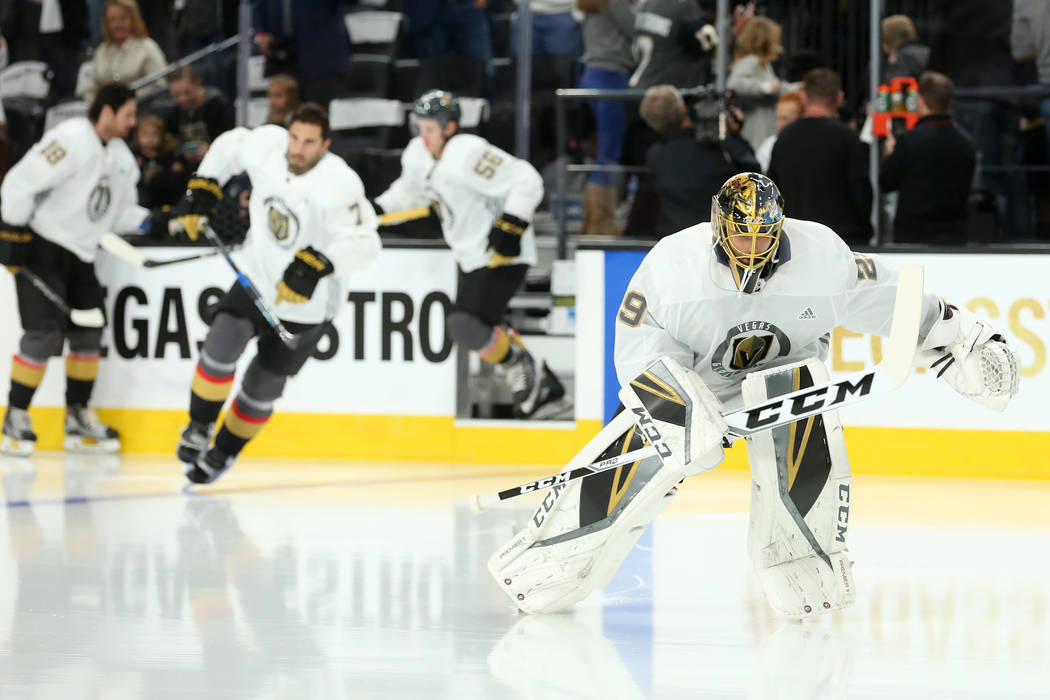 Vegas Golden Knights goalie Marc-Andre Fleury (29) takes to the ice for warm ups before the game against the Arizona Coyotes at T-Mobile Arena in Las Vegas, Tuesday, Oct. 10, 2017. Bridget Bennett ...