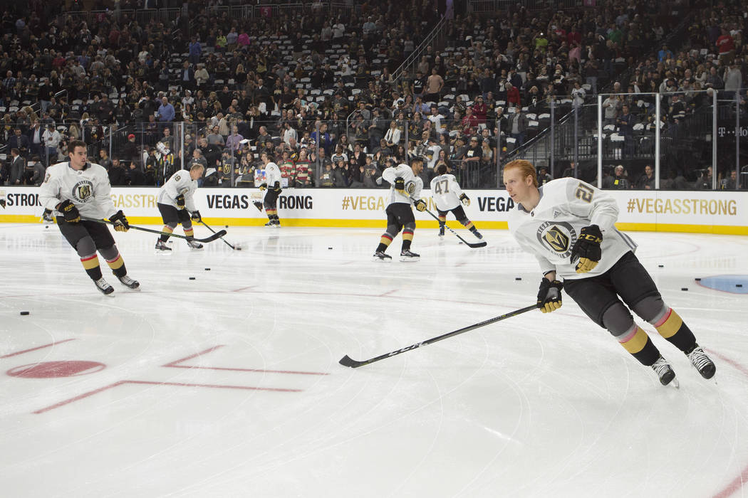 Vegas Golden Knights center Cody Eakin (21) warms up with teammates before the game against the Arizona Coyotes at T-Mobile Arena in Las Vegas, Tuesday, Oct. 10, 2017. This was the first  Bridget  ...