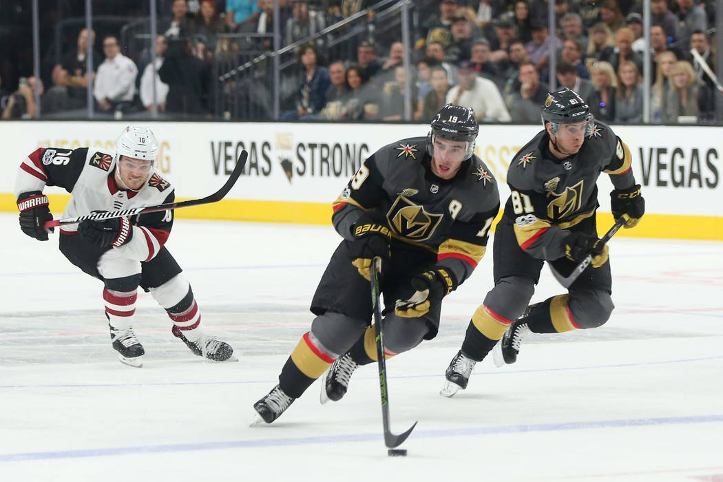 Vegas Golden Knights right wing Reilly Smith (19) brings the puck up the ice during the second period against the Arizona Coyotes at T-Mobile Arena in Las Vegas, Tuesday, Oct. 10, 2017. Bridget Be ...