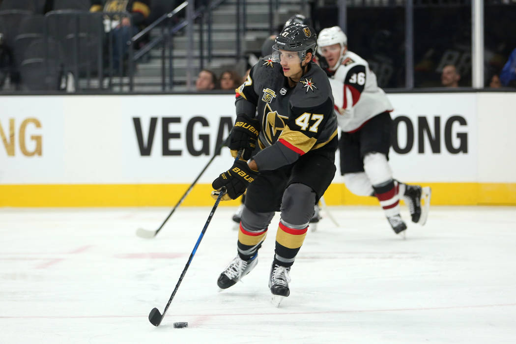 Vegas Golden Knights defenseman Luca Sbisa (47) handles the puck during the third period against the Arizona Coyotes at T-Mobile Arena in Las Vegas, Tuesday, Oct. 10, 2017. Knights won 5-2. Bridge ...