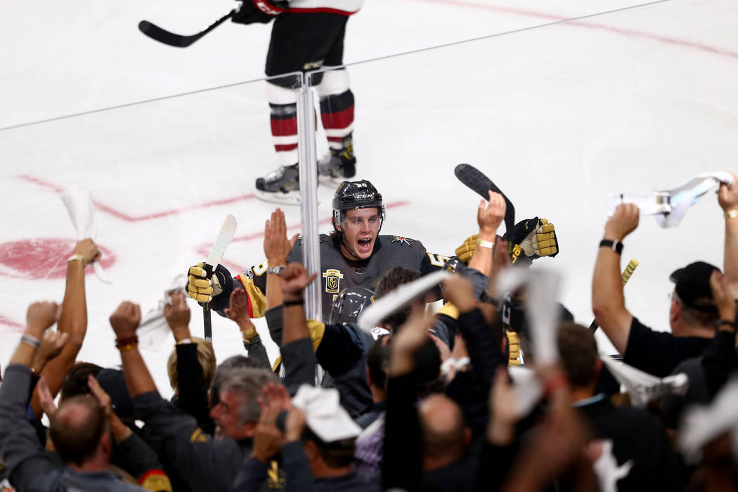 Vegas Golden Knights left wing Erik Haula celebrates Deryk Engelland's goal and the Knights second goal in the first period against the Arizona Coyotes at T-Mobile Arena in Las Vegas on Tuesday. O ...