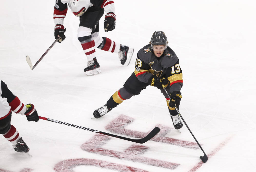 Vegas Golden Knights left wing Brendan Leipsic (13) attempts to gain control of the puck during the second period of an NHL hockey game between the Vegas Golden Knights and the Arizona Coyotes, Tu ...