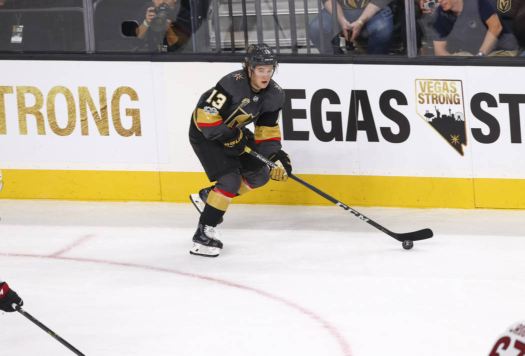 Vegas Golden Knights left wing Brendan Leipsic (13) controls the puck during the first period of an NHL hockey game between the Vegas Golden Knights and the Arizona Coyotes, Tuesday, Oct. 10, 2017 ...