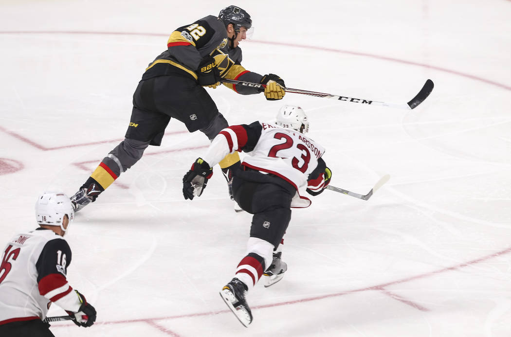 Vegas Golden Knights left wing Tomas Nosek (92) takes a slap shot for a goal during the first period of an NHL hockey game between the Vegas Golden Knights and the Arizona Coyotes, Tuesday, Oct. 1 ...