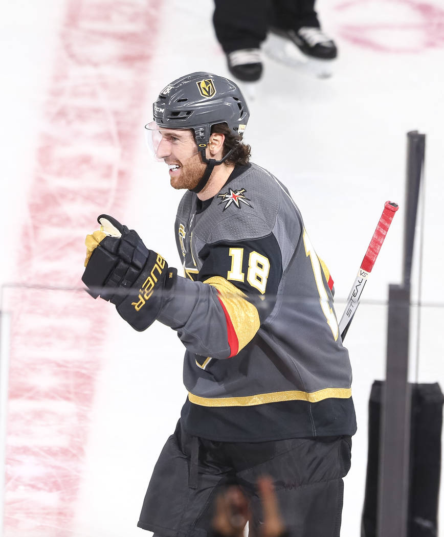 Vegas Golden Knights left wing James Neal (18) celebrates after scoring a goal during the first period of an NHL hockey game between the Vegas Golden Knights and the Arizona Coyotes, Tuesday, Oct. ...