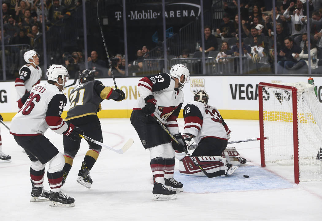 Vegas Golden Knights' James Neal, not pictured, scores against the Arizona Coyotes during an NHL hockey game at T-Mobile Arena in Las Vegas on Tuesday, Oct. 10, 2017. Chase Stevens Las Vegas Revie ...