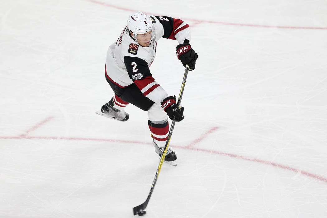 Arizona Coyotes defenseman Luke Schenn (2) looks for an open pass against Vegas Golden Knights in the Knight's NHL season home opener at T-Mobile Arena in Las Vegas, Tuesday, Oct. 10, 2017. Erik V ...