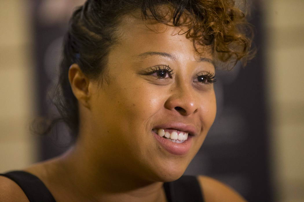 Tylaicha Price talks about her best friend Erick Silva during a memorial service for Silva at Davis Funeral Home in Las Vegas on Wednesday, Oct. 11, 2017. Silva was working as a security guard at  ...