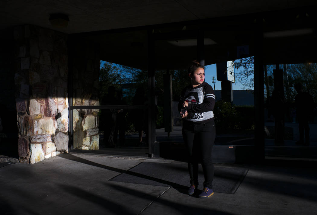 A sister of Erick Silva during a memorial service for him at Davis Funeral Home in Las Vegas on Wednesday, Oct. 11, 2017. Silva was working as a security guard at the Route 91 Harvest festival the ...