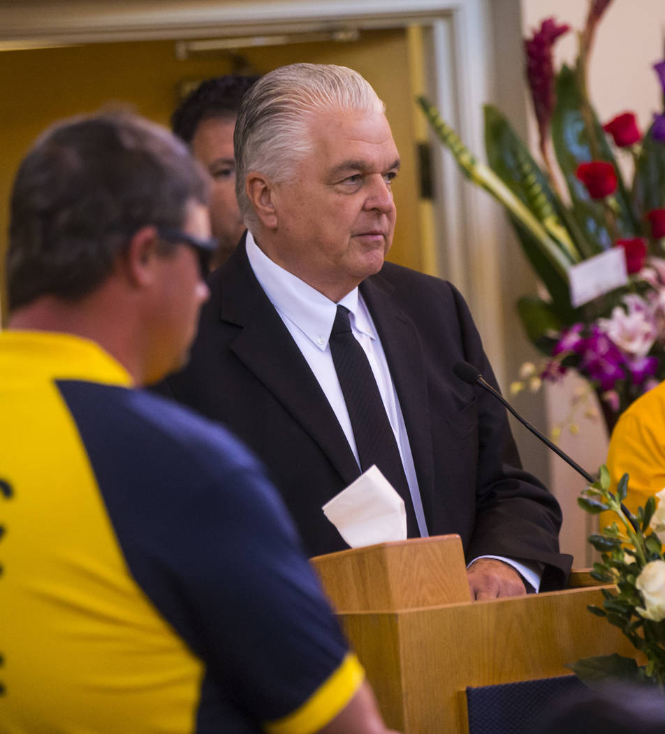 Clark County Commissioner Steve Sisolak speaks during funeral services for Erick Silva at Davis Funeral Home & Memorial Park in Las Vegas on Thursday, Oct. 12, 2017. Silva was working as a sec ...