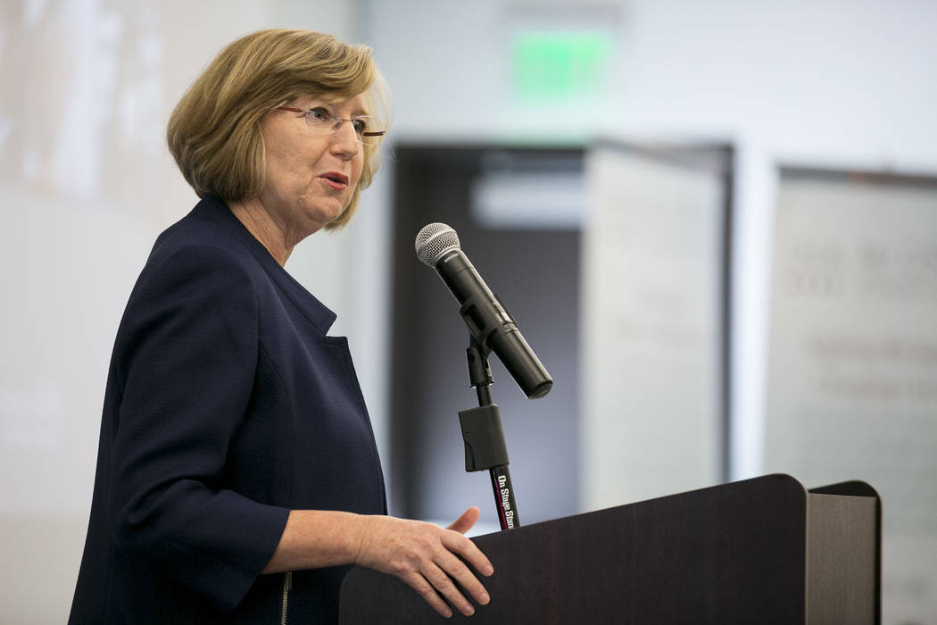 Barbara Buckley, Legal Aid Center of Southern Nevada executive director, speaks at the Legal Aid Center of Southern Nevada on Wednesday, Sept. 13, 2017. (Bridget Bennett Las Vegas Review-Journal)