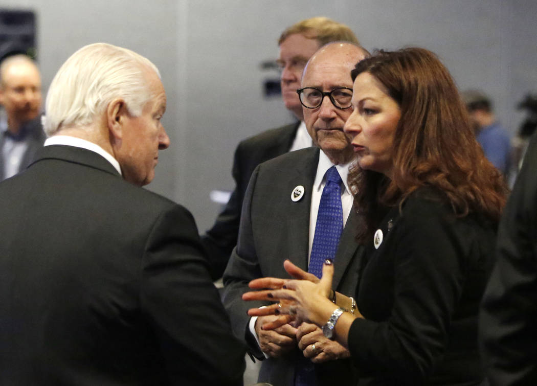 Roger Dow, left, the U.S. Travel Association president and CEO, Rossi Ralenkotter, center, president and CEO of the Las Vegas Convention and Visitors Authority, and Cathy Tull, senior vice preside ...