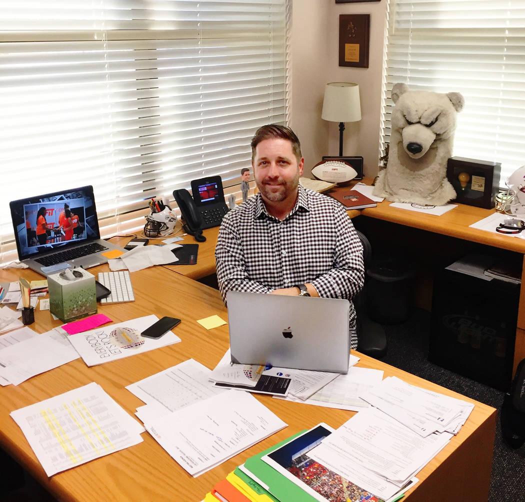 John Saccenti is shown in his Las Vegas office. Behind him: The Head of Boom Boom. (John Saccenti).