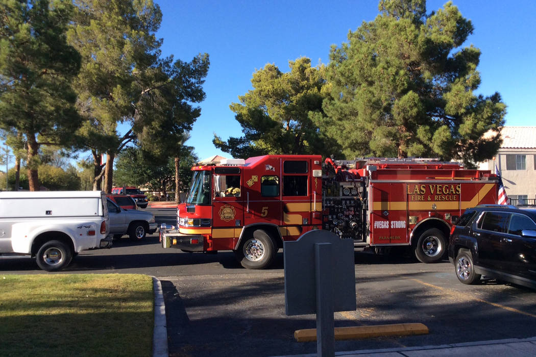 Las Vegas Fire Department responded to a fire at an apartment complex at 1400 S. Valley View Blvd. on Tuesday, October 10, 2017. Las Vegas Fire and Rescue