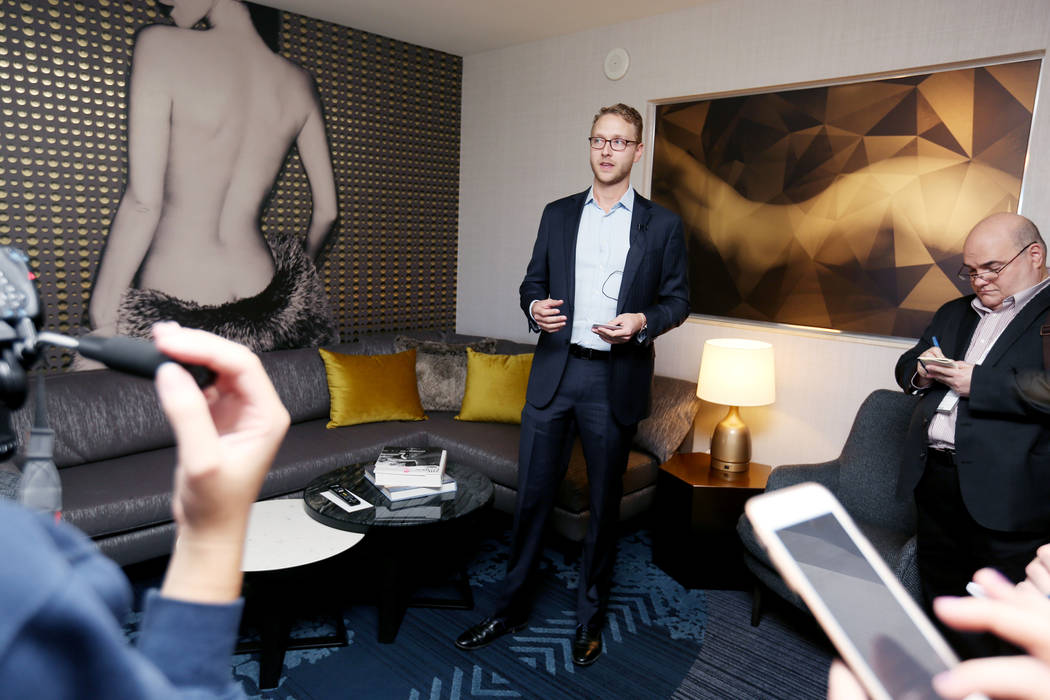 Senior vice president of strategy and business development Patric Nichols gives a tour of a newly renovated Studio Terrace suite at The Cosmopolitan of Las Vegas in Las Vegas, Tuesday Oct. 10, 201 ...