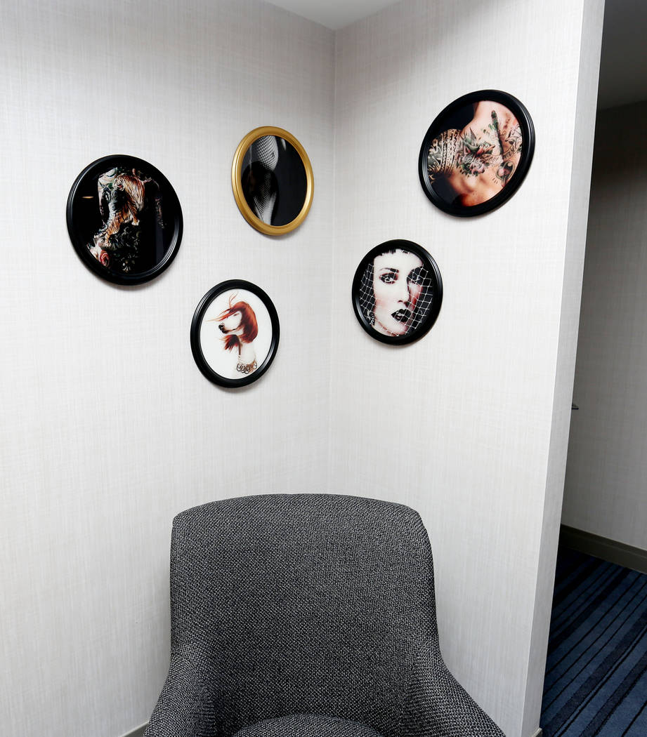 Eclectic photos hang in a newly renovated Terrace One room at The Cosmopolitan of Las Vegas in Las Vegas, Tuesday Oct. 10, 2017. Elizabeth Brumley Las Vegas Review-Journal @EliPagePhoto