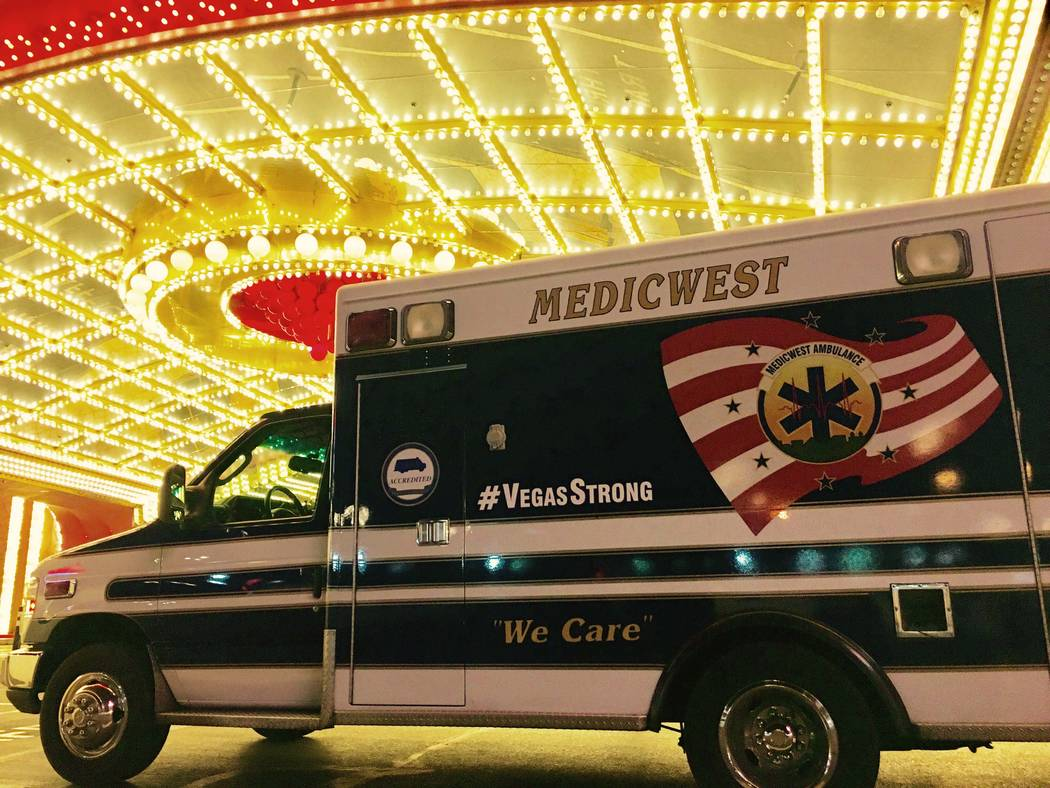 An ambulance in the MedicWest fleet with #VegasStrong decals in the lights of the Circus Circus valet. Photo submitted by Ricky Yeager