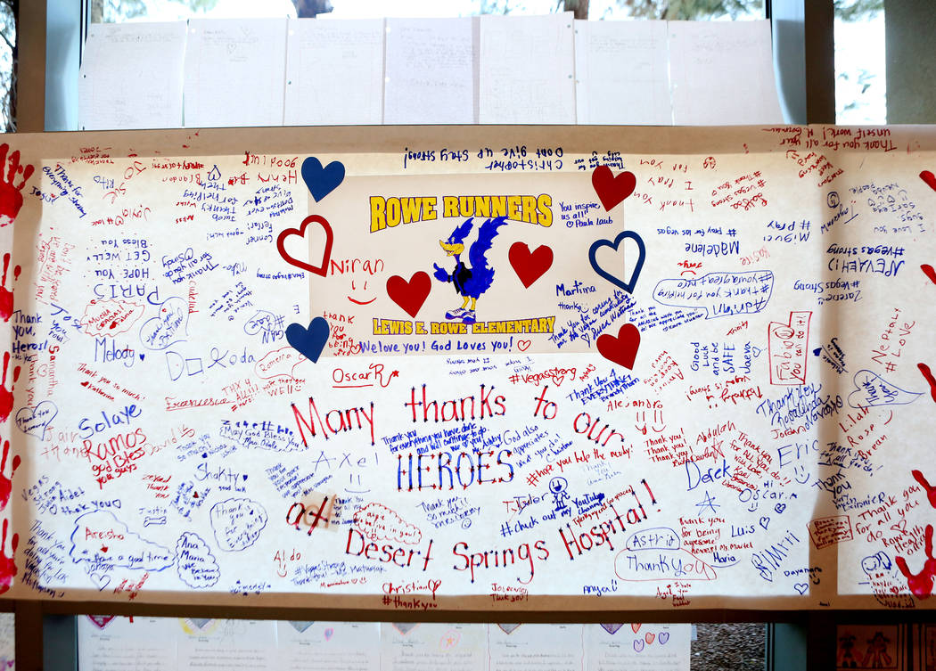 Lewis E. Rowe Elementary school's banner of encouragement for the staff of Desert Springs Hospital  hangs in the hallway of the hospital, in Las Vegas, Tuesday, Oct. 10, 2017. Elizabeth Brumley La ...