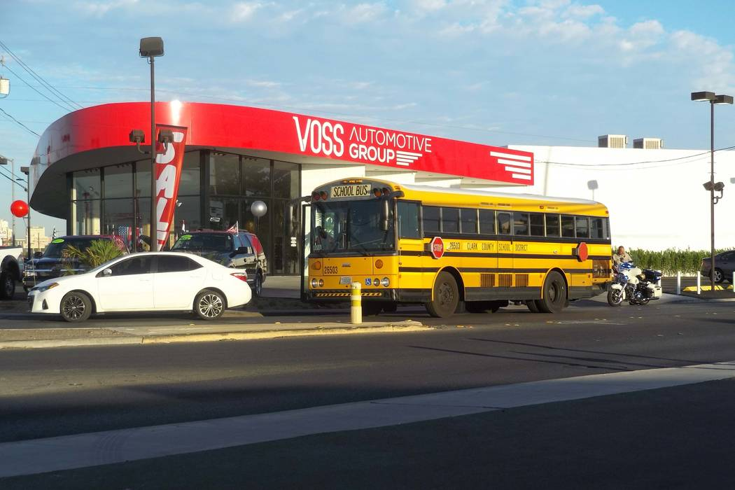 A Clark County School District bus was involved in a crash with a car on Fremont Street and Mojave Road, Wednesday, Oct. 11, 2017. No injuries were reported. (Max Michor/Las Vegas Review-Journal)