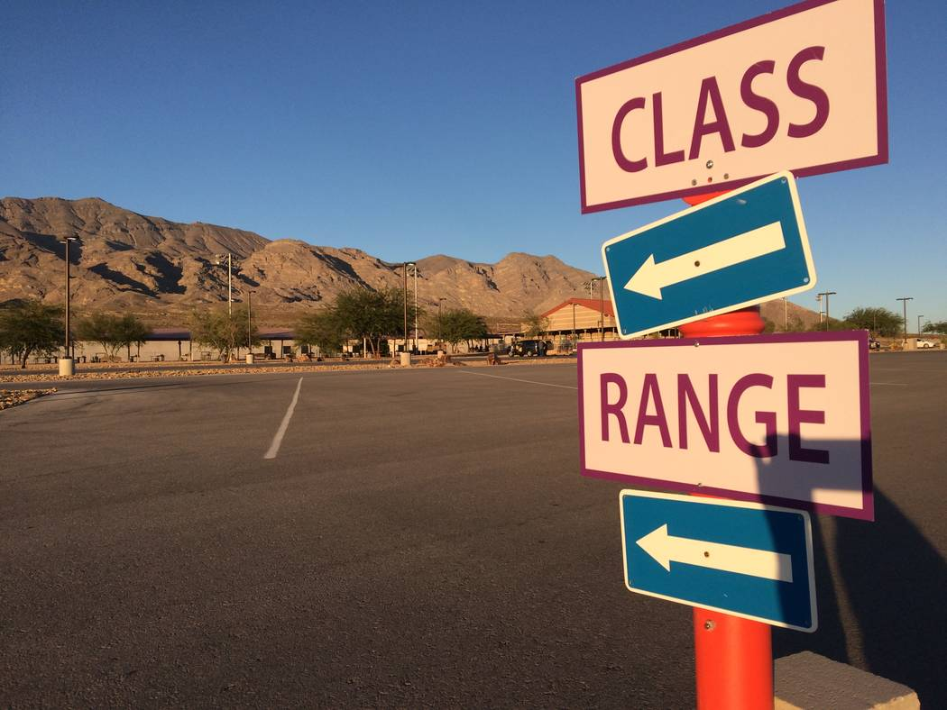 Signs outside the Clark County Shooting Complex Oct. 10, 2017, point the way to its weekly Annie Oakley Oakley Women's Shooting Program. It's taught by women and only women are allowed in the cl ...