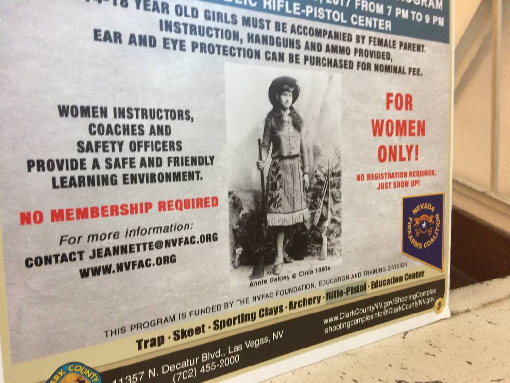 A poster is seen Oct. 10, 2017, at the Clark County Shooting Complex promoting its weekly Annie Oakley Oakley Women's Shooting Program. The classes are for women only and are taught by women. (J ...
