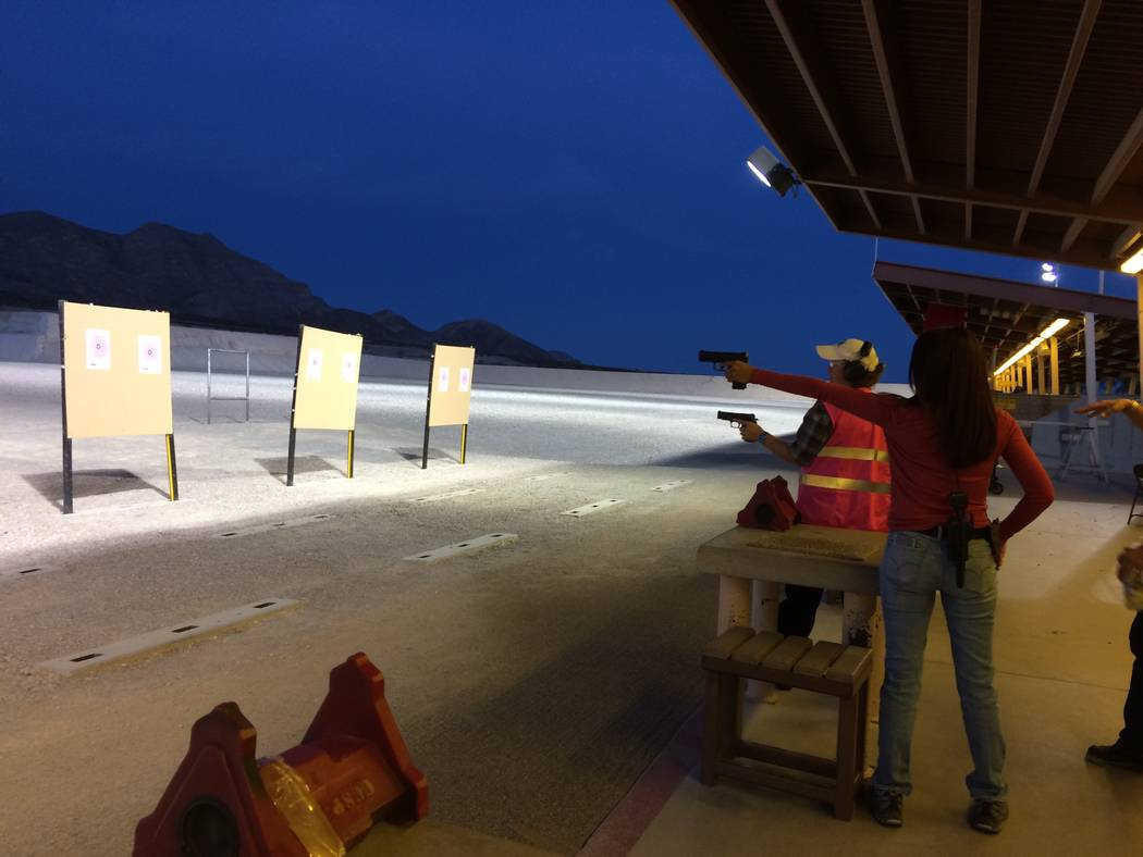 Jeannette Morgan, womens' program director at the Clark County Shooting Complex, Left) enjoys target shooting with Kimberly Davis, another instructor, on Oct. 10, 2017. Both are involved with th ...