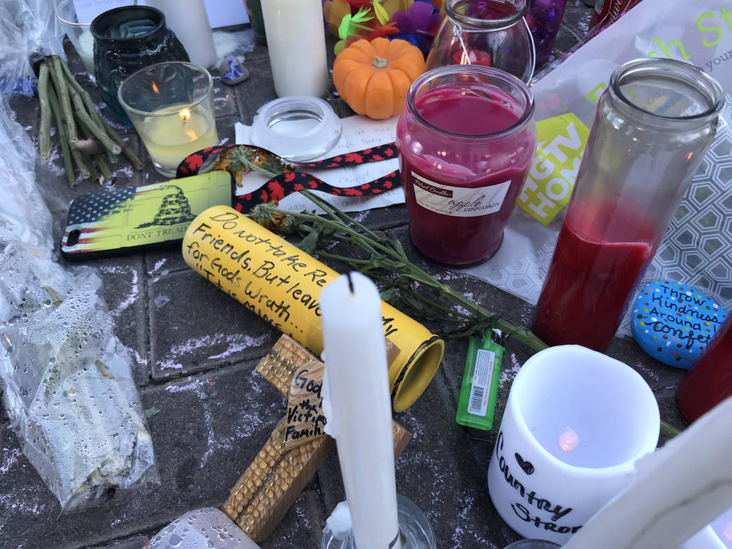 Some of the items that have become became part of a memorial of the Oct. 1 massacre in Las Vegas near Reno Avenue and Las Vegas Boulevard South. Blake Apgar Las Vegas Review-Journal @blakeapgar