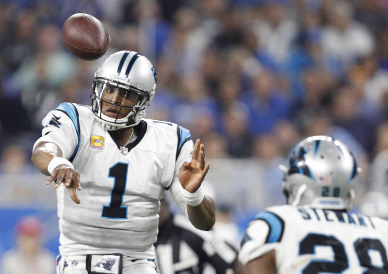 Carolina Panthers quarterback Cam Newton (1) throws the ball to running back Jonathan Stewart (28) during the second quarter against the Detroit Lions at Ford Field. Raj Mehta USA Today Sports