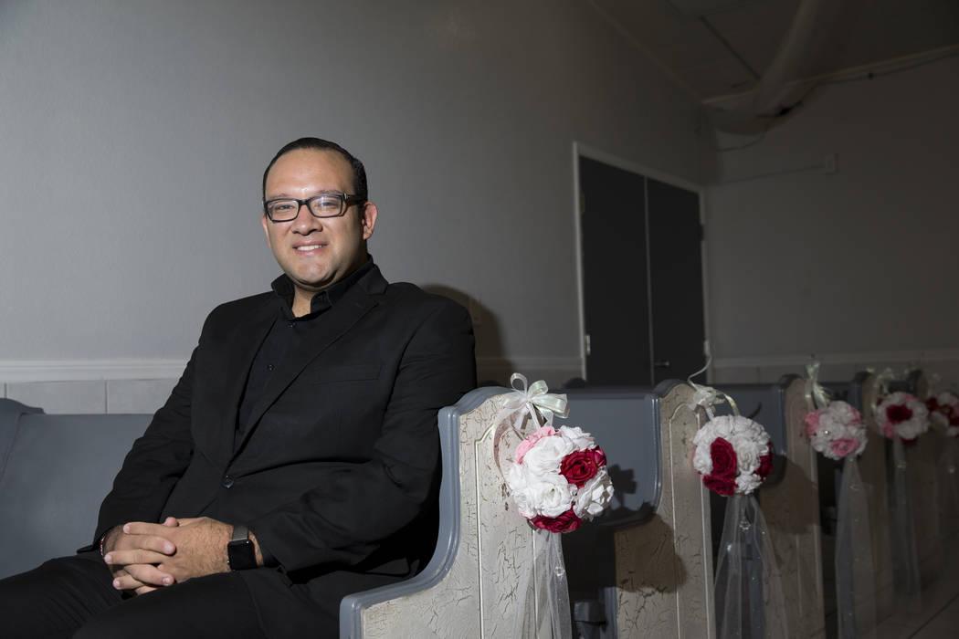 Sebastian Salas, owner of A Wedding Chapel, at his Las Vegas chapel, Thursday, Oct. 12, 2017. Erik Verduzco Las Vegas Review-Journal @Erik_Verduzco