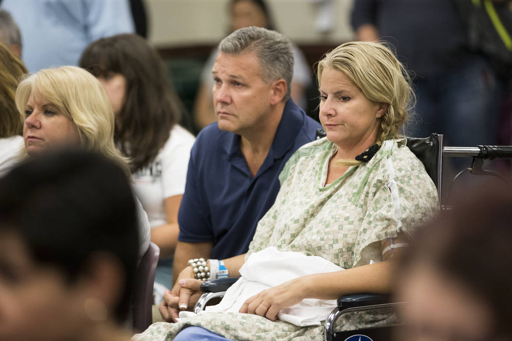 Todd Kammer, left, and his wife Lori of Orange County, Calif., at Sunrise Hospital during a music concert for patients and staff at the hospital auditorium in Las Vegas, Wednesday, Oct. 11, 2017.  ...