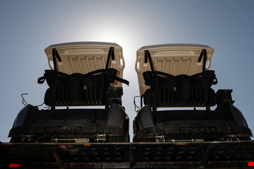 Golf cars are unloaded at Legacy Golf Club in Henderson, Thursday, Oct. 12, 2017. Joel Angel Juarez Las Vegas Review-Journal @jajuarezphoto