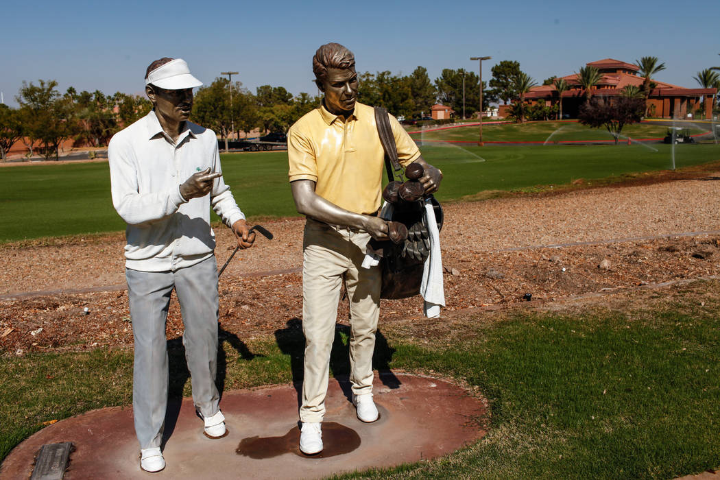 Statues are placed outside at Legacy Golf Club in Henderson, Thursday, Oct. 12, 2017. Joel Angel Juarez Las Vegas Review-Journal @jajuarezphoto