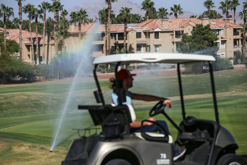 A worker drives at Legacy Golf Club in Henderson, Thursday, Oct. 12, 2017. Joel Angel Juarez Las Vegas Review-Journal @jajuarezphoto