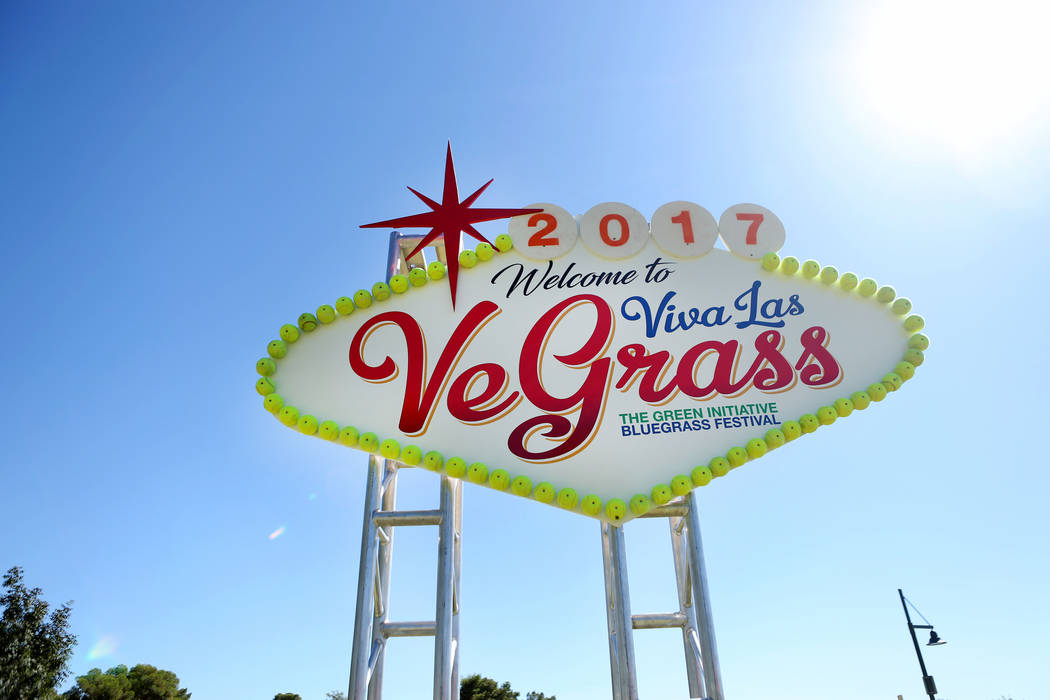 A handmade sign wlecomes guests to the Green Initiative Bluegrass Festival at Craig Ranch Park in North Las Vegas, Sunday, Oct. 15, 2017. Elizabeth Brumley Las Vegas Review-Journal @EliPagePhoto