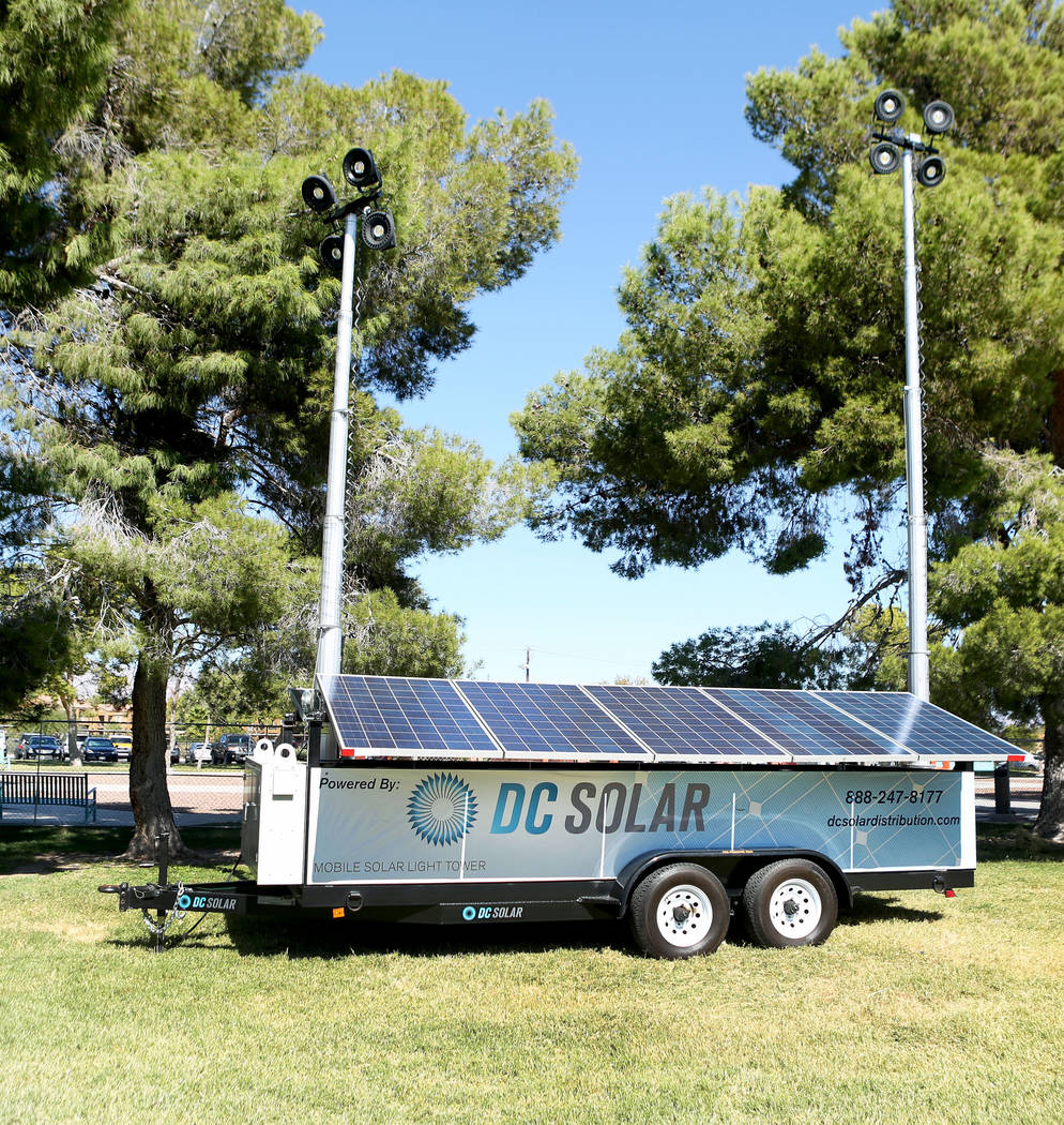 Solar panels are used in the first annual Green Initiative Bluegrass Festival at Craig Ranch Park in North Las Vegas, Sunday, Oct. 15, 2017. The festival's focus is on sustainability and recycling ...