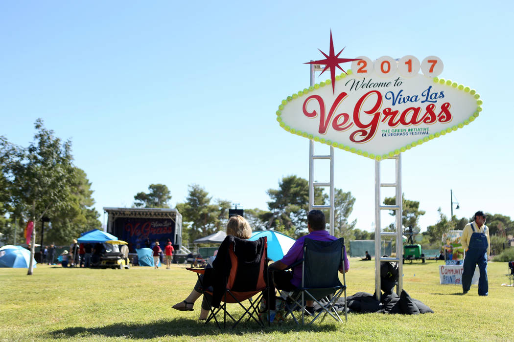 Individuals listen to a band play during the first annual Green Initiative Bluegrass Festival at Craig Ranch Park in North Las Vegas, Sunday, Oct. 15, 2017. Elizabeth Brumley Las Vegas Review-Jour ...