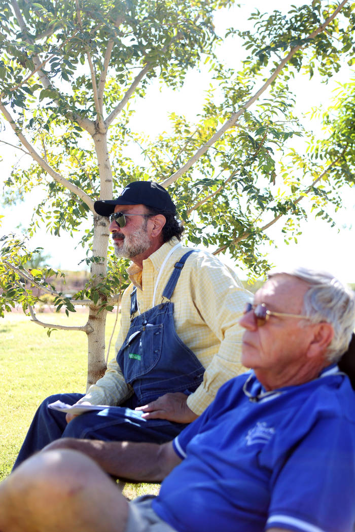 """Kal """"Spunky"""" Catman, left, and Jerry Raybeck listen to live music during the first annual Green Initiative Bluegrass Festival at Craig Ranch Park in North Las Vegas, Sunday, Oct. ..."""