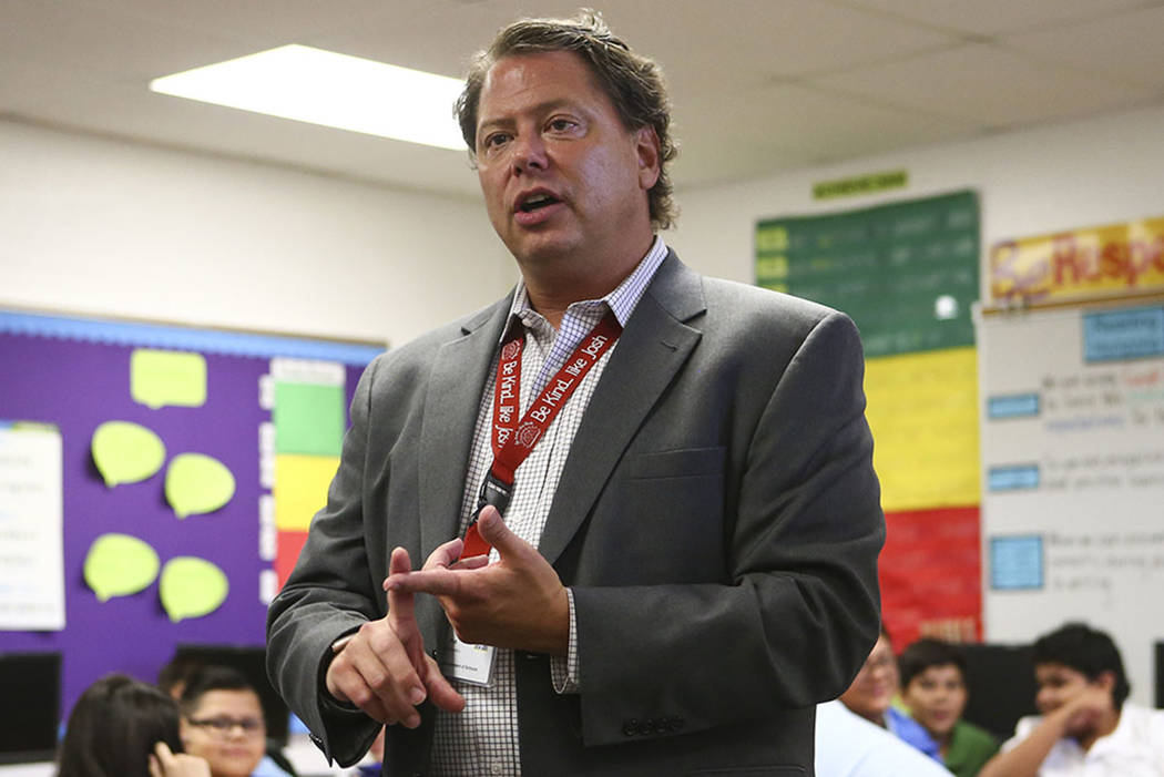 Clark County School District Superintendent Pat Skorkowsky during the first day of classes at Garside Junior High School in Las Vegas on Monday, Aug. 14, 2017. (Chase Stevens Las Vegas Review-Journal)