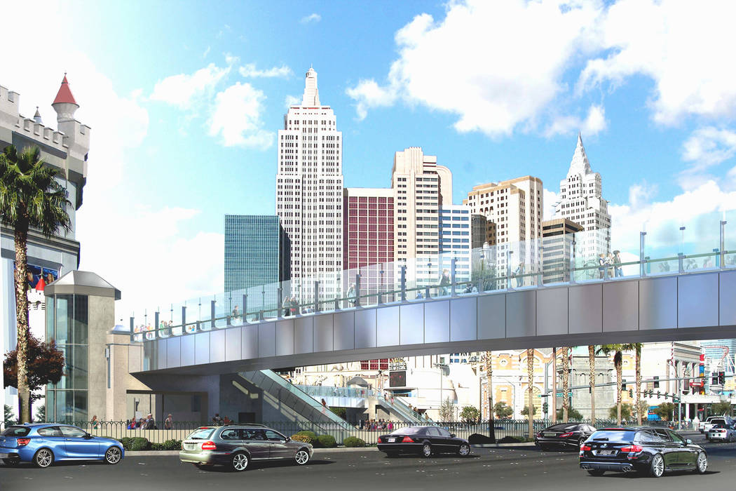 A rendering of the planned changes to the pedestrian bridge connecting New York-New York and Excalibur. Contributed.