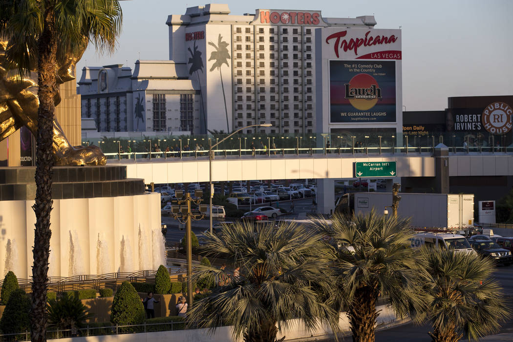 A pedestrian bridge linking MGM Grand and Tropicana hotel-casino near the intersection of Las Vegas Boulevard and Tropicana Avenue in Las Vegas, Thursday, Oct. 12, 2017. Richard Brian Las Vegas Re ...