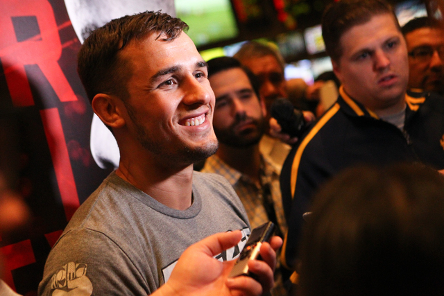 UFC fighter Myles Jury speaks with news media inside of the MGM Grand hotel-casino on Wednesday, Dec. 31, 2014. Jury is slated to face Donald Cerrone in UFC 182. (Chase Stevens/Las Vegas Review-Jo ...