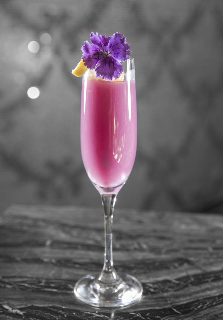 Lychee-raspberry bellini at Jean Georges Steakhouse on Monday, October 16, 2017, at the Aria hotel/casino, in Las Vegas. Benjamin Hager Las Vegas Review-Journal @benjaminhphoto