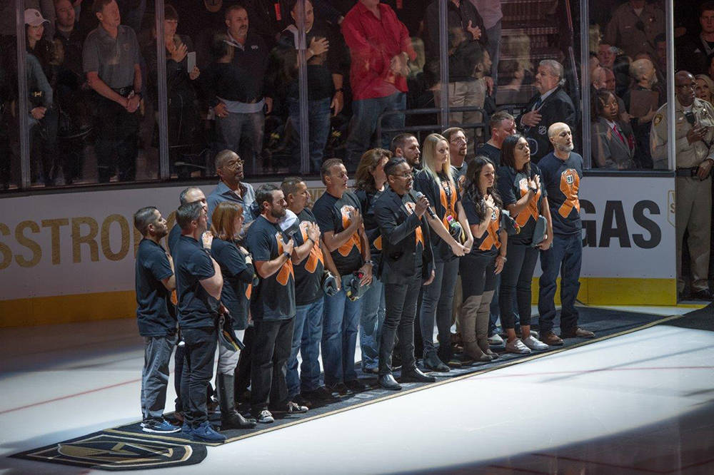 The Vegas Golden Knights honored the victims and first responders of the gun massacre that killed 58 people and injured more than 500. Their names were projected onto the ice as each member of the ...