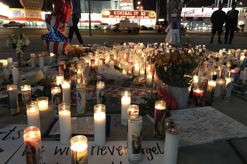 A makeshift memorial for victims of the Route 91 Harvest Festival mass shooting is located at the intersection of the Strip and Sahara Avenue, Wednesday, Oct. 4, 2017. (Madelyn Reese/Las Vegas Rev ...